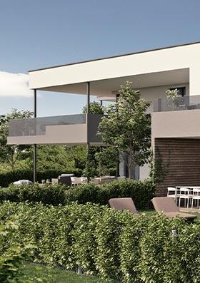 Visualisierung einer Wohneinheit mit Terrasse und Garten im Viertel 7 Marchtrenk.