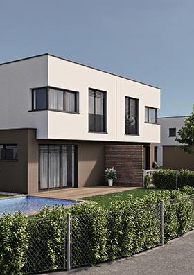 Visualisierung Außenansicht einer Wohneinheit mit Garten und Pool im Viertel 7 Marchtrenk.